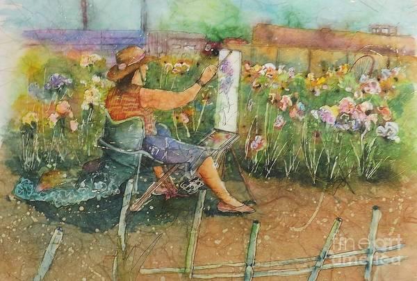 Painting - Artist In The Iris Garden by Carol Losinski Naylor