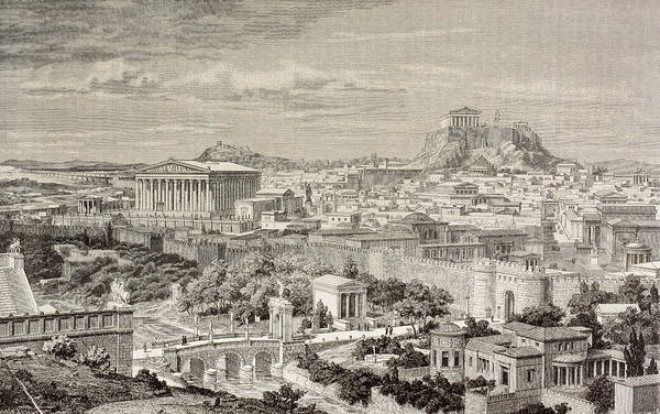 Reconstruction Drawing - Artist S Impression Of Athens, Greece by Vintage Design Pics