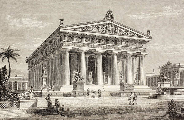 Reconstruction Drawing - Artist S Impression Of The Temple Of by Vintage Design Pics
