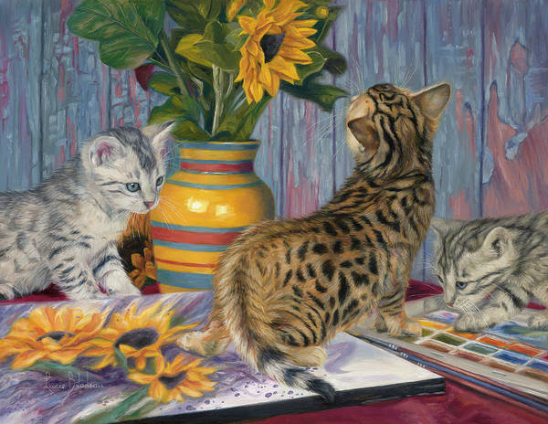 Domestic Cat Wall Art - Painting - Artistic Interest by Lucie Bilodeau