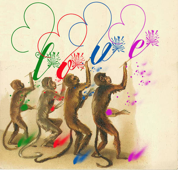 Digital Art - Artistic Monkeys by Ericamaxine Price