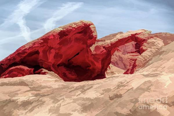 Valley Of Fire State Park Digital Art - Artistic Natural Arch Valley Of Fire  by Chuck Kuhn