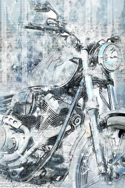 Wall Art - Mixed Media - Artistic Ride Blue by Melissa Smith