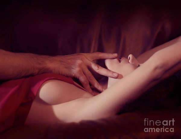 Wall Art - Photograph - Artistic Sensual Couple Closeup Man Hand Touching Woman Lips by Awen Fine Art Prints