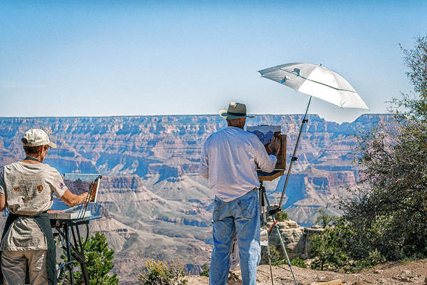 Plein Air Photograph - Artists At The Grand Canyon by Mary Chris Hines