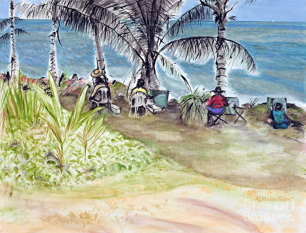 Far North Queensland Wall Art - Painting - Artists By The Sea by Kerryn Madsen-Pietsch
