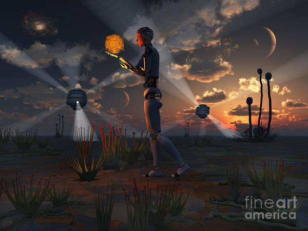 Cyborg Digital Art - Artists Concept Of A Quest To Find New by Mark Stevenson