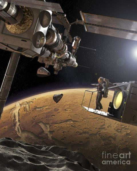 Voyage Digital Art - Artists Concept Of An Orbital Outpost by Steven Hobbs