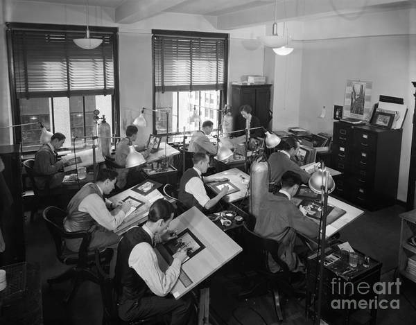 Drafting Photograph - Artists Working In Drafting Studio by H. Armstrong Roberts/ClassicStock