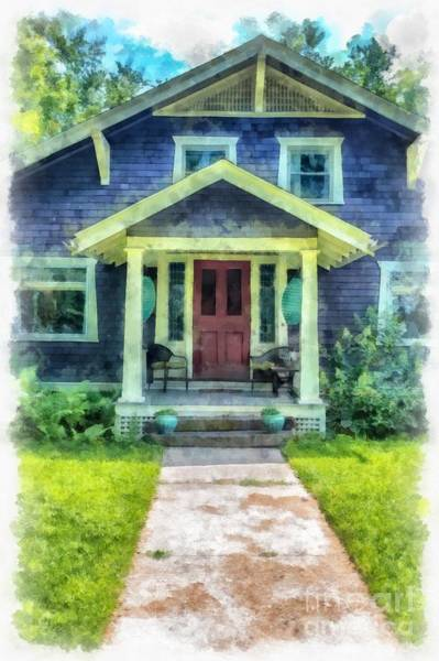 Digital Art - Arts And Crafts Home Deerfield Ma Watercolor by Edward Fielding