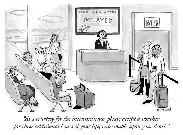 Airplanes Drawing - As A Courtesy For The Inconvenience by Amy Kurzweil