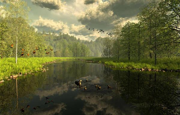 Digital Art - As The River Flows by Dieter Carlton