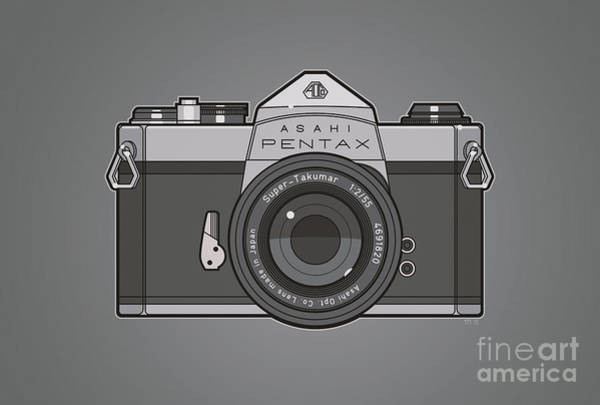 Wall Art - Photograph - Asahi Pentax 35mm Analog Slr Camera Line Art Graphic Gray by Monkey Crisis On Mars