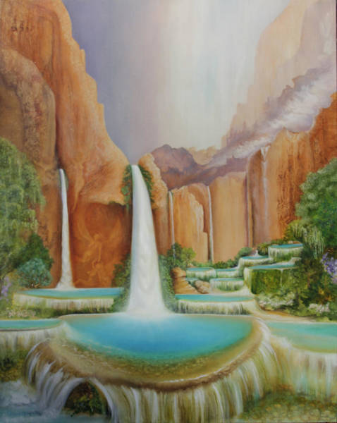 Painting - Ascending Angels At Havasu Falls by William T Templeton