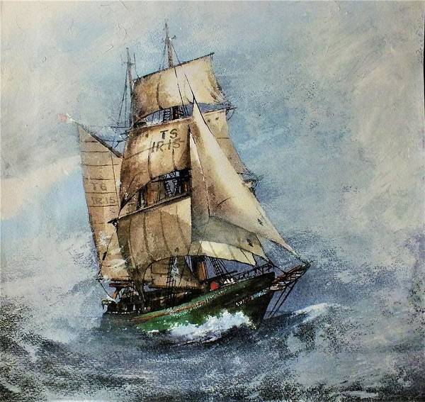 Painting - F 827 Asgard Storm Off Galway. by Val Byrne