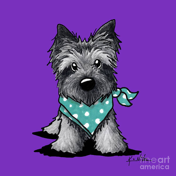 Ashes Drawing - Ash Cairn Terrier In Dots by Kim Niles