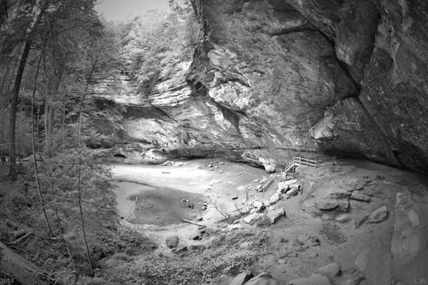 Photograph - Ash Cave At Hocking Hills Ohio Black And White by Lisa Wooten