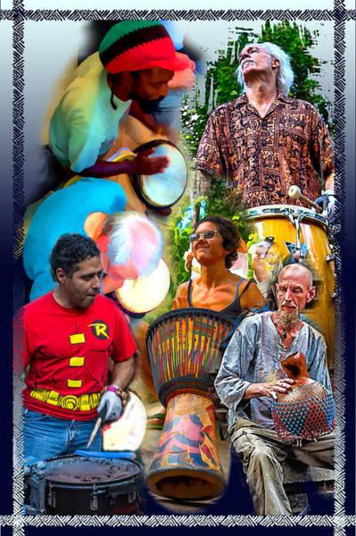 Drum Circle Wall Art - Digital Art - Asheville Drum Circle Collage by John Haldane