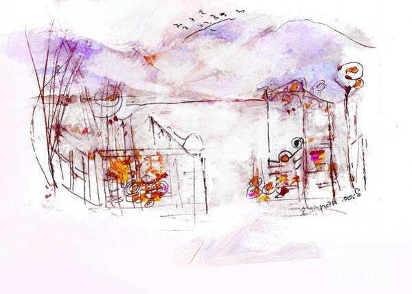 Organic Abstraction Mixed Media - Asheville Mountains Old Friends A Garden Bench   by Zsanan Studio
