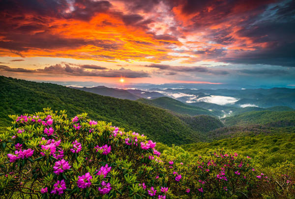 Wall Art - Photograph - Asheville North Carolina Blue Ridge Parkway Scenic Sunset by Dave Allen
