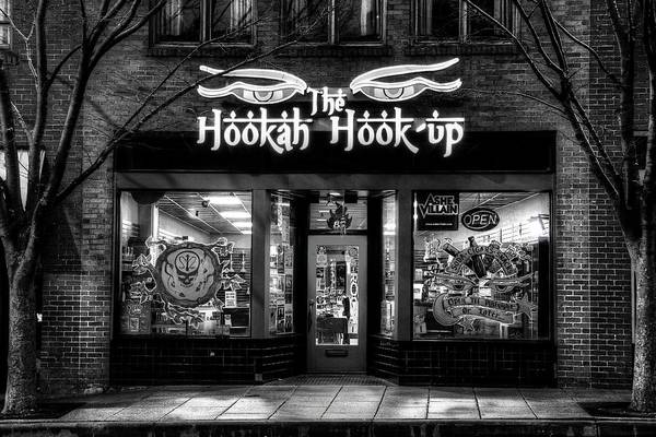 Photograph - Asheville North Carolina Hookah Shop In Black And White by Carol Montoya