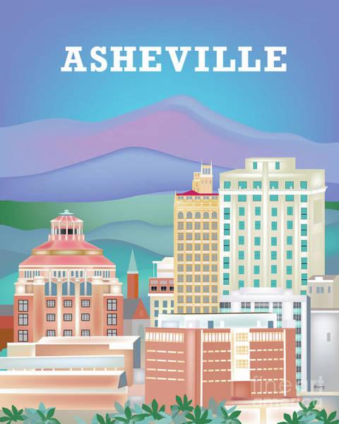 Asheville Wall Art - Digital Art - Asheville, North Carolina, Vertical Skyline by Karen Young