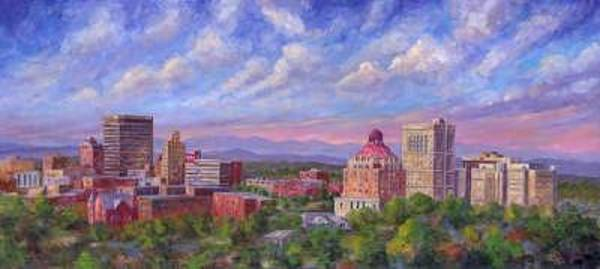 Asheville Wall Art - Painting - Asheville Sky - Downtown Asheville Nc by Jeff Pittman