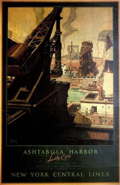Wall Art - Painting - Ashtabula Harbor - Ohio - Vintage Illustrated Poster by Studio Grafiikka