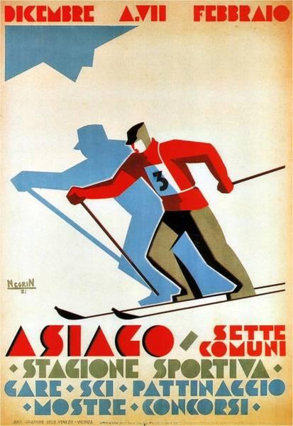 Blades Mixed Media - Asiago, Italy Ski Poster - Winter Sports - Retro Travel Poster - Vintage Poster by Studio Grafiikka