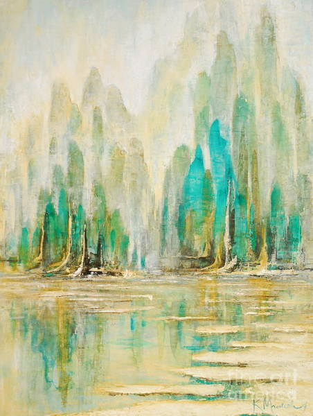 Painting - Asian Aqua Sea by Kaata    Mrachek