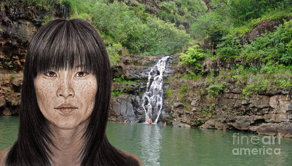 Freckle Drawing - Asian Beauty By A Waterfall  by Jim Fitzpatrick