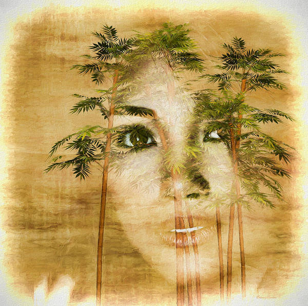 Painting - Asian Beauty Portrait In Bamboo - Painting by Ericamaxine Price