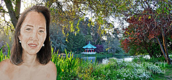 Freckle Drawing - Asian Beauty Pusara By The Pagoda In Golden Gate Park by Jim Fitzpatrick