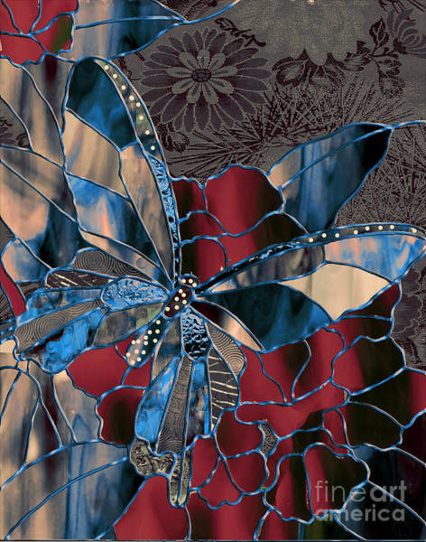 Leaded Glass Painting - Asian Butterfly by Mindy Sommers