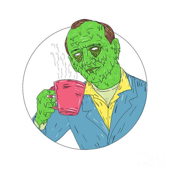 Grotesque Digital Art - Asian Dude Drinking Coffee Grime Art by Aloysius Patrimonio