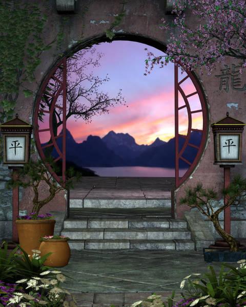 Bonsai Tree Digital Art - Asian Entryway by Suzanne Amberson