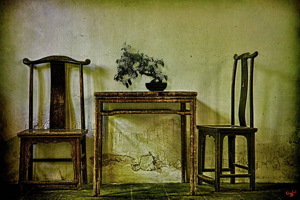Digital Art - Asian Furniture And Bonsai by Chris Lord