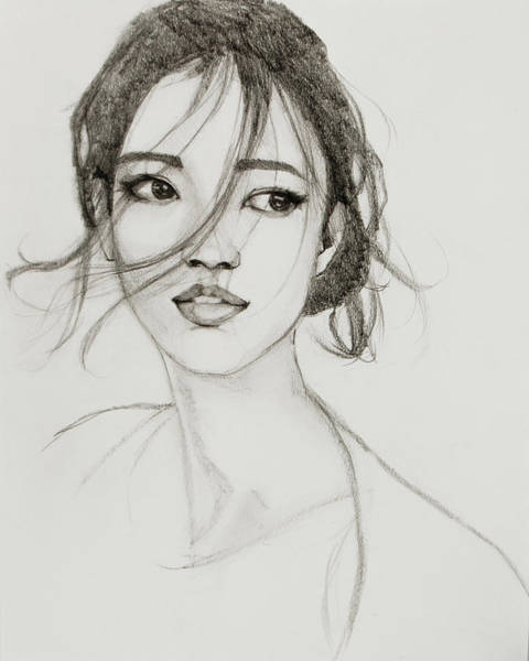Drawing - Asian Girl by Jani Freimann
