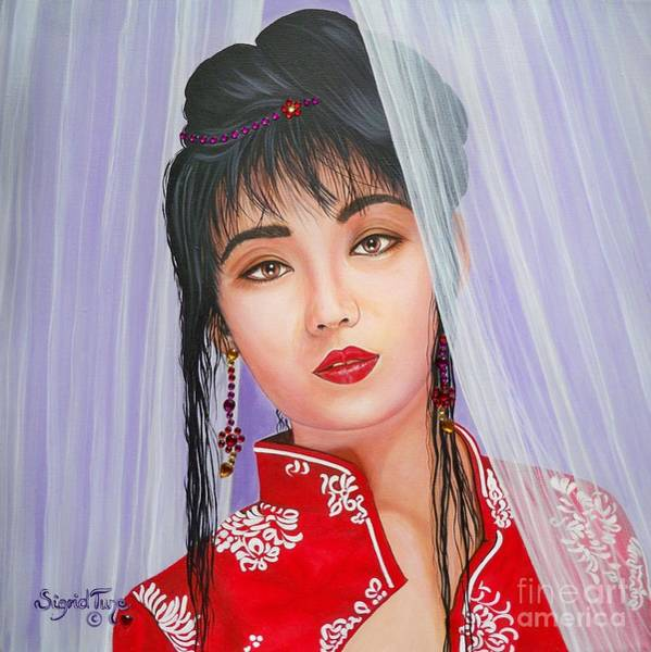 Painting - Amenable Japanese  Girl.              From  The Attitude Girls  by Sigrid Tune