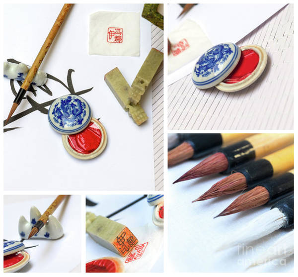 Photograph - Asian Traditional Brush Pen And Ink  by Ariadna De Raadt