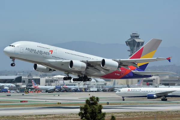 Wall Art - Photograph - Asiana Airbus A380-800 Hl7626 Los Angeles International Airport May 3 2016 by Brian Lockett