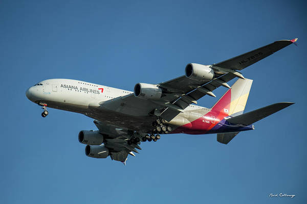 Photograph - Asiana Airlines Airbus A380 H L 7625 Landing L A X Los Angeles Airplane Art  by Reid Callaway