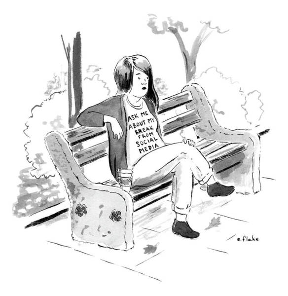 Bench Drawing - Ask Me About My Break From Social Media by Emily Flake