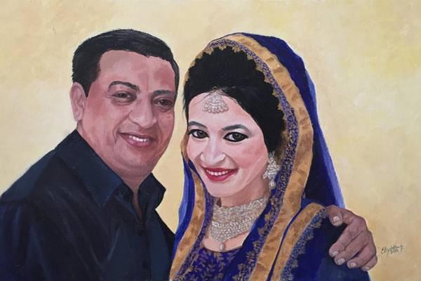 Painting - Asma With Her Abbu by Elizabeth Mundaden