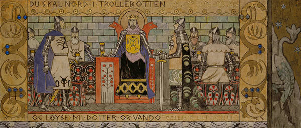Painting - Asmund In The King's Hall by Gerhard Munthe