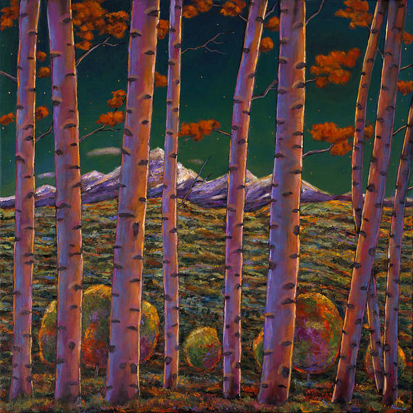 Snow Scene Painting - Aspen At Night by Johnathan Harris