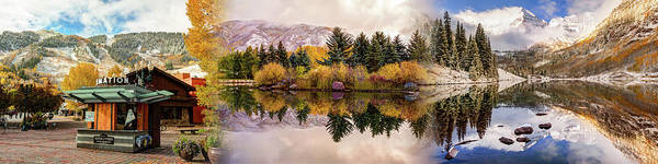 Photograph - Aspen Colorado Panoramic Collage - Autumn Mountain Landscapes by Gregory Ballos
