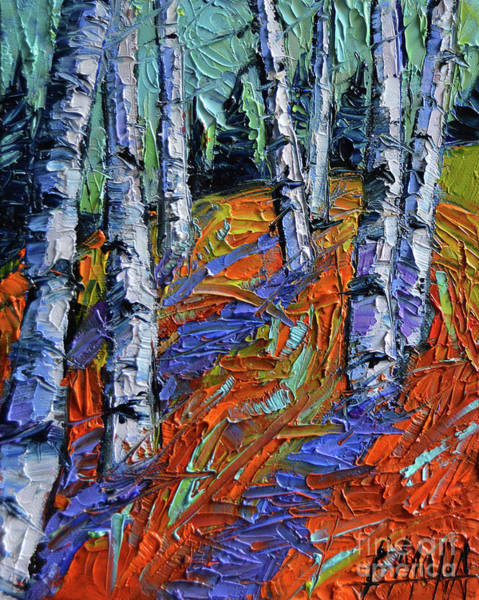 Pine Forest Painting - Aspen Forest Etude Modern Impressionist Palette Knife Oil Painting by Mona Edulesco