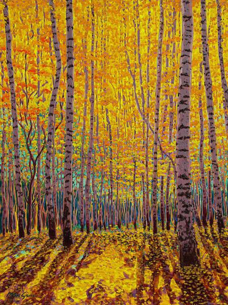 Shining Painting - Aspen Glow by Michael Gross