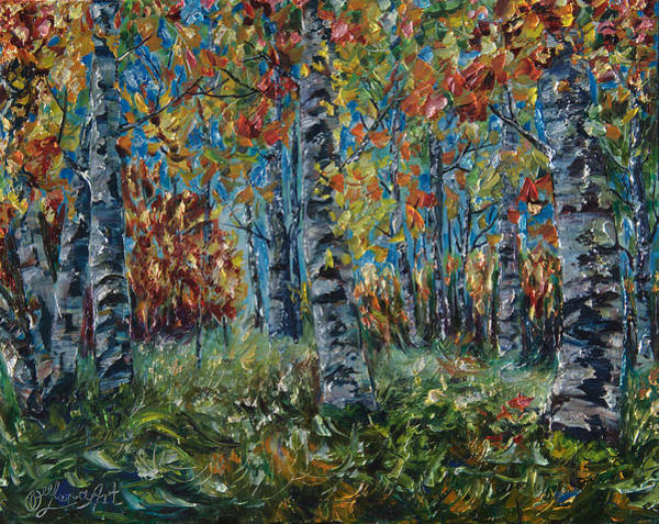 Painting - Aspen Grove Palette Knife Painting by OLena Art - Lena Owens